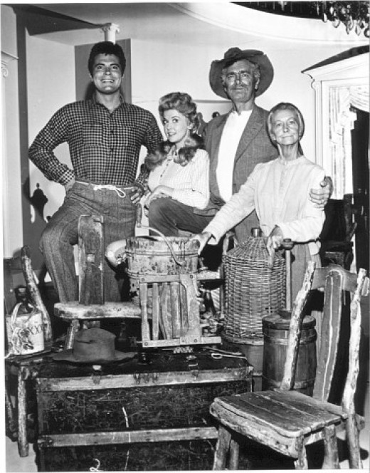 "But if ""I"" had my way, things would be upgraded and I mean upgraded. (from left) Max ""Jethro Bodine"" Baer; Donna ""Ellie Mae Clampett"" Douglas; Buddy ""Jed Clampett"" Ebsen and Irene ""Daisy Moses, granny"" Ryan, core-cast of this CBS-TV ""monster"" hit."