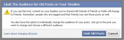 Altering the visibility of previous Facebook updates and posts.