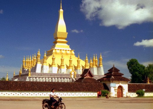 Buddhist chedi in Vientiane, Laos - just across the border from Nong Khai in N.E, Thailand