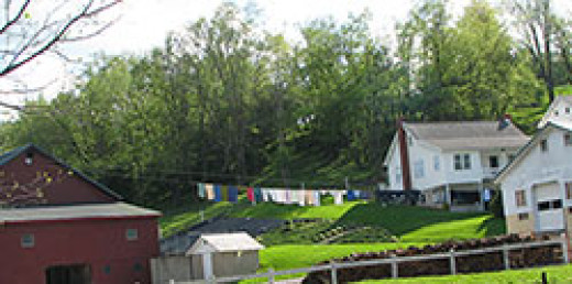 Clothes are air dried on an Amish pulley and cable system