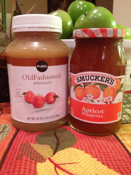 The original recipe lists a home made applesauce, but we substituted with store bought (this is not a brand promotion).