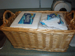 Use all kinds of baskets for organization both wood and plastic.
