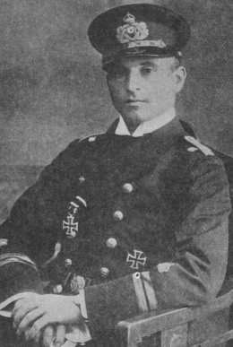 WWI: Kapitanleutnant Otto Weddigen commander of german submarine U-9 during Great War.