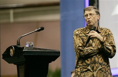 Bill Gates wearing a Batik Clothe