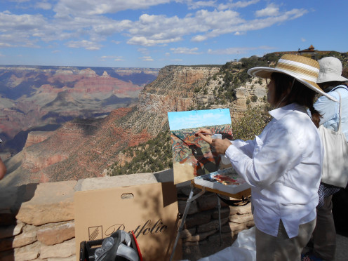 An artist captures the canyon's majesty on canvas.