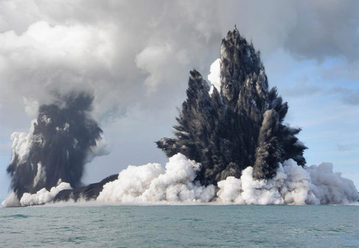 This undersea eruption created a new Island off the coast of Tonga in March of 2012.