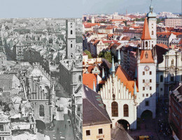 Since 1810 Oktoberfest has been cancelled more than 20 times due to war, disease or economic depression. This photo records WWII damage to Munich.
