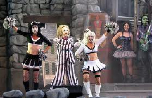Universal's BeetleJuice Show in Orlando, Florida is full of music and special effects. It has a werewolf, zombies and of course BeetleJuice dancing like nobody's business on a graveyard.