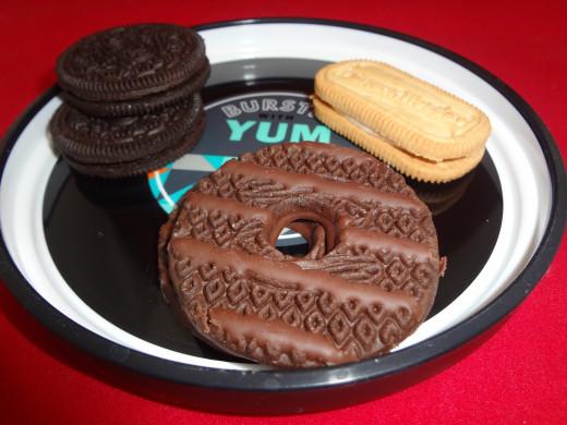 Dark Chocolate Fudge Striped Cookies, Oreos and Snackwells