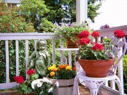 Lovely container groupings on a porch.