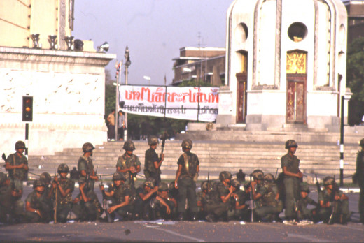 Soldiers preparing to repel the next wave of protestors at Democracy Monument, during the Bangkok riots, 1992