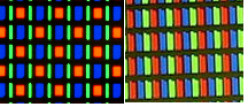 The inferior PenTile pixel arrangement (on the left) compared to the standard RGB one (on the right)