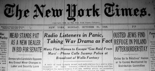 The New York Times headline - October 31, 1938