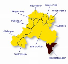 Map of the Saarbruecken region
