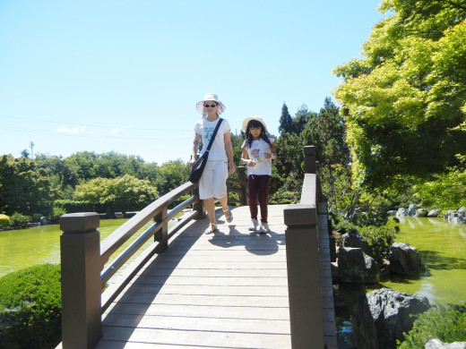 People Walking on A Bridge in Japanese Friendship Garden San Jose CA