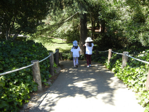 Girls Walking in Japanese Friendship Garden San Jose CA