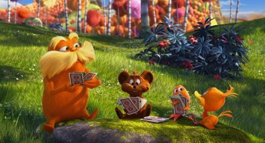 Screen shot of the Lorax in Dr. Seuss' The Lorax