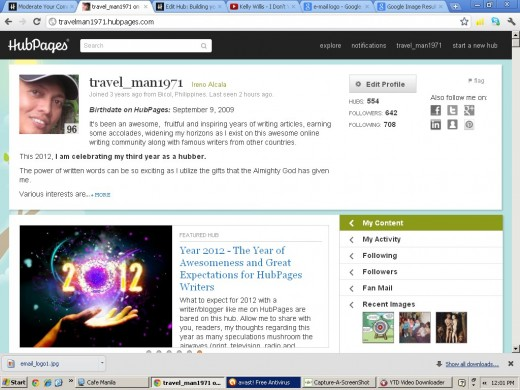 My Profile Page @ HubPages as of Sept. 28, 2012)(Using Capture-a-Screenshot)