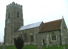The Church was only partly built in 1472 the tower still to be erected.  The church would have been hidden behind the trees.  The boys saw no church.