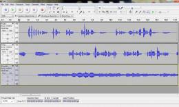 Screenshot of 3 tracks in Audacity