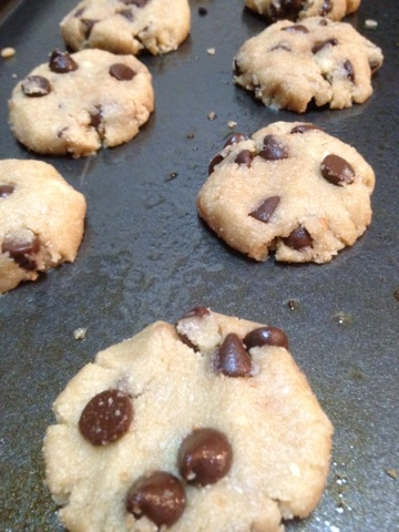 Preparing the dough for Paleo Chocolate Chip Cookies