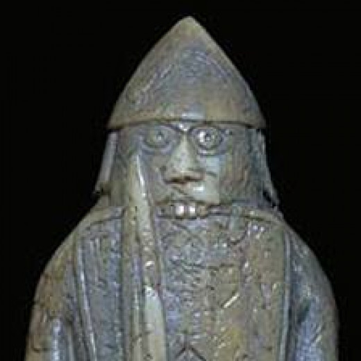 One of the pawns in the Lewis chess set, a berserker chewing the rim of his shield. There is the school of thought that stems from Christian times, that berserkers never existed