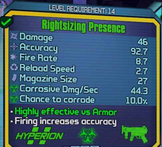 Borderlands 2 - an example of a corrosive submachine type of weapon.