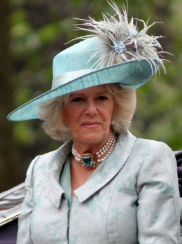 Duchess of Cornwall in a beautiful blue suit and hat.