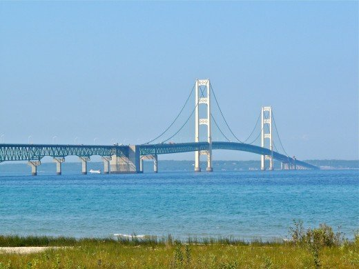 Mackinac Bridge looking north towards the U.P.