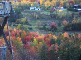 View looking down the hill from the base of the Pine Mountain Ski Jump