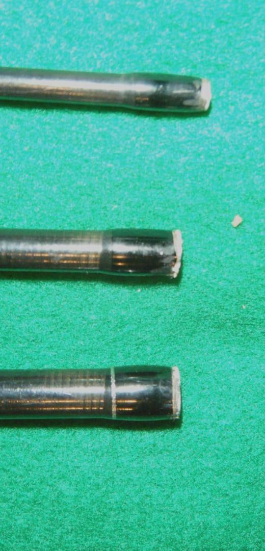 The female ferrules showing cracked epoxy.