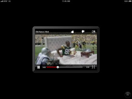 The native YouTube iPhone app as it appears in landscape orientation on the iPad.