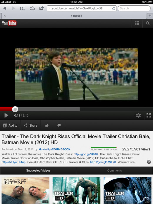 An image of 240p video as viewed on the mobile YouTube website.