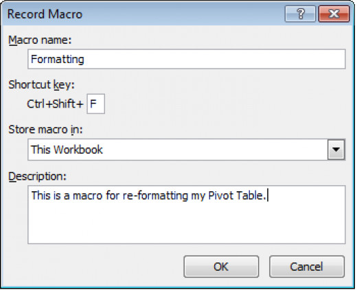 Creating and configuring a macro in Excel 2007.