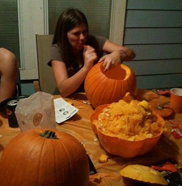 Some people make weird faces when they carve pumpkins--me.