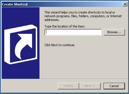 Fig 3. Create Shortcut WIndow