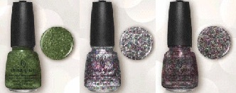 China Glaze Winter Holly, Pizzazz, Glitter All The Way
