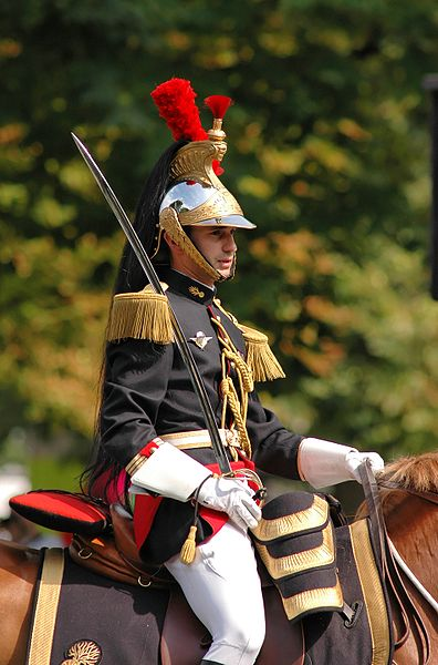 A Republican guard, part of the French Gendarmes, on a July 14th Bastille's day parade