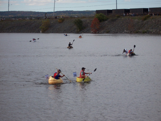 Not all paddlers make it across, many fall into the cool water