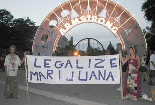 A cannabis legalization march in 2001