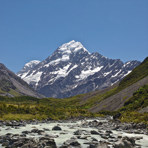 Mount Cook, as seen from Hooker valley, New Zealand.