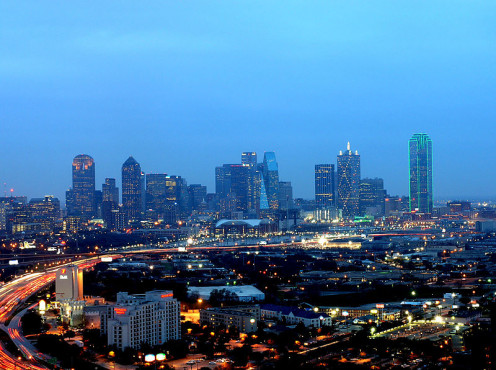Night Skyline in Dallas, Texas. Minutes away from Plano, Texas