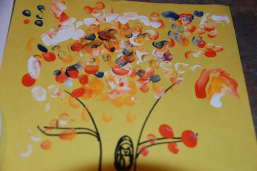 Fingerprint leaves on a fall tree