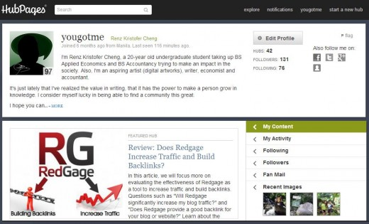 This is how the new Hubpages profile layout looks like