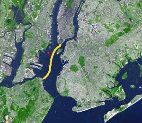 Staten Island Ferry Route across Upper New York Bay.