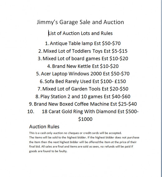 A simple catalogue of items for sale and rules for your auction, you can make the rules to suit your sale of goods.