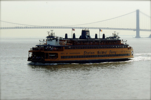 Statan Island Ferry John F. Kennedy with Verrazano Narrows Bridge in background.