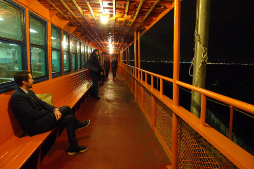 Walkway on the Staten Island Ferry.