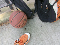 Getting prepared for B-ball drill exercises and recording training videos, with trusty book bag with Toshiba x400 HD Camcorder inside a Tripod bag, and lets not forget a good outdoor basketball, oh and approved basketball high top training sneakers