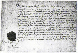 Warrant Signed by Governor Winslow of Plymouth for the Sale of Indian Captives as Slaves